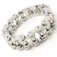 201g Heavy Polishing Sliver Bicycle Chain Cool Man Bracelet 316L Stainless Steel Hot Biker Style Top Quality Design Bracelet