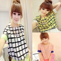 2014 Women  Chiffon blouse colorful plaid patterns shirt lady fashion short sleeve Loose Blouse Top tee~gh010210