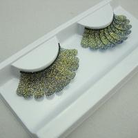 2014 NEW fashion yellow lace false eyelashes free shipping 2pair/lot