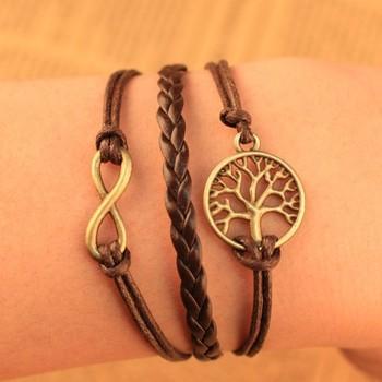 2014 Европейский Мода ретро Шарм плетеный кожаный желание дерево Бесконечность браслет