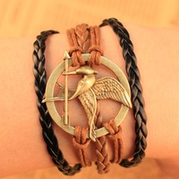 2014 New Design Style Fashion Vintage Hungry Game Bird Arrow Leather Bracelets multilevel Weave Leather
