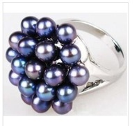 GENUINE PEACOCK BLUE PEARL RING SIZE 6-9 BOX