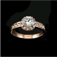Italina Rigant Fashion Jewelry Imitation Diamond Rings Champagne Gold or Platinum Plated