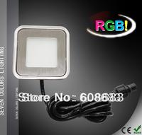 Free Shipping! Square LED Floor Light Kit Outdoor RGB LED Deck Light Set: 8pcs Light&1pc Driver&1pc Controller&2pcs Connection