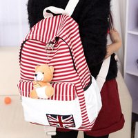 2014 New! Free shipping girl casual school bag,stripe backpack, fashion travel bag, laptop bag,student canvas backpack,with bear