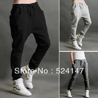 Casual Men Sports Jogging Dance Baggy Trousers Slim Harem Pants Waistband Slacks drop freeshipping