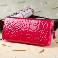 8 Color Women Lady Patent Leather Rose Zipper Medium Style Handbag Wallet Purse