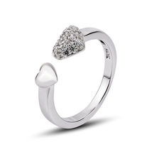 GNJ0490 New Year 2014 Free shipping 925 Sterling silver Jewelry, High quality Fashion 925 CZ gogeous love heart  rings for women