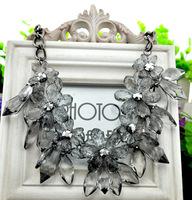 N474288   fashion big metal transparent flower necklace, flower statement necklace