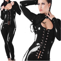 Hot Fashion Black Latex Cutout Latex Flexible Sexy Catsuit Rubber Leather Long Sleeves Leotard Women Body Suits Jumpsuits10312