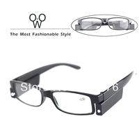 Free shipping 500PCS/LOT black Led Reading Glasses Reading Glass with LED Light glasses power +1 +1.5 +2 +2.5 +3 +3.5 +4