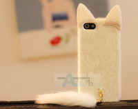 New 3D Elegant fashion Cute Fox Fur White Plush Mink Cat Soft Case Cover for Apple iPhone 4 4S Case + Pen A165-W