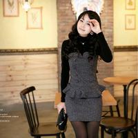 2014 spring female slim hip slim medium-long basic woolen long-sleeve dress autumn and winter female