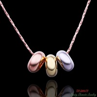 18K Rose Gold White Gold Golden Gold Plated Circle Pendant Necklace with Chain, Creative Super Quality Nickel Free Jewelry N536