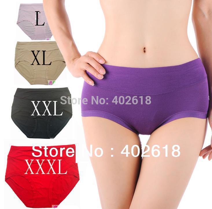 5PCS/lot Underwear Women, Bamboo briefs, Bamboo panties Breathable Bamboo Fiber Antibiotic Seamless High Waist Plus Size L-XXXL(China (Mainland))