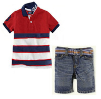 Brand name kids clothes fashion 2014 summer boys casual clothing suit kids red striped short sleeve t shirt + cowboys short set