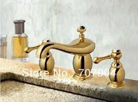 bathroom golden plated basin sink faucet mixer tap crane dual handles elegant