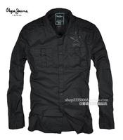 Eslpodcast pepe jeans Men epaulette black slim long-sleeve shirt