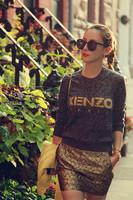 Free Shipping 2014 Autumn Winter Fashion Long Sleeves Letter Dark Grey + Sheath Mini Golden Dress Twinset