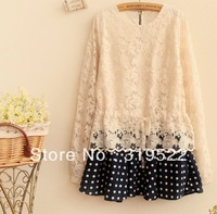 2014 princess cute  spring lace cutout shirt blouse with polka dots skirt hem patchwork long shirt faux two piece dress