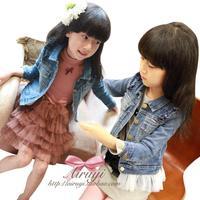 Girls Jacket removable white Lotus leaf hem denim coat outerwear little female child kids Children jeans wear Cowboy Clothing