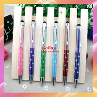 1000pcs/lot Wholesale 18 colors Flower 2 in 1 BALLPOINT PEN Colorful CRYSTAL stylus pen for iphone 4 5S/Ipad mini,cell phones