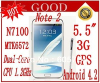 New Note II N7100 5.5 inch android 4.2 MTK6572 Dual-core 1.2G 5MP 3G WCDMA GPS Smart Phone Dual Sim with 2Gift Free shipping