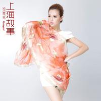 Silk scarf female autumn and winter 2013 hangzhou brand silk scarf mulberry silk leaves flower embroidery needlework