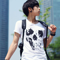 Free Shipping New Summer Men's Fashion Cotton Short Sleeve, Slim Abstract Skull Print T-shirt