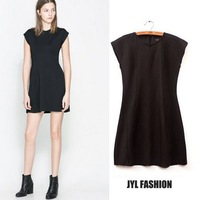 JYL FASHION 2014 Spring/Summer Less is more solid high waist slim fit cap sleeve women clothing mini dress,empire womens dresses