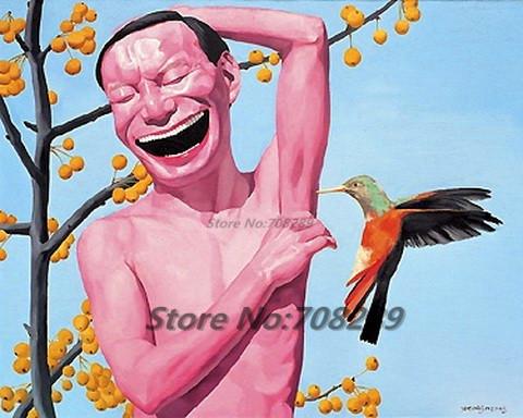 China The famous contemporary painter minjun yue Hip hop smiling face canvas Modern Decorative Abstract art walloil painting 46(China (Mainland))