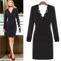 2014 New Arrival Long Sleeve Lace V-neck Women Winter Sweater Dress