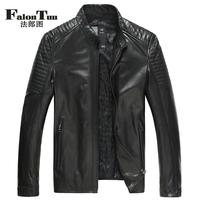 Autumn men's leather clothing luxury python skin patchwork leather jacket slim short men's design genuine leather clothing