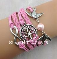 2014 New Infinity love bracelet , Wish Tree & Couple bird Charm Bracelet--Antique Silver Bracelet Hot sale