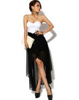 Sexy Off-shoulder Colorblock Asymmetric Hem Chiffon Women Strapless Dress Party Cocktail