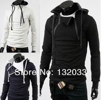 2014 fashion double zipper placket cardigan hooded jacket men hit the color Slim thick fleece sweater