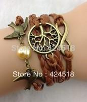 Infinity love bracelet ,Bangle Cuff Bracelet Tree of life Bracelet copper Karma Bracelet Lover Birds Bracelet Pearl