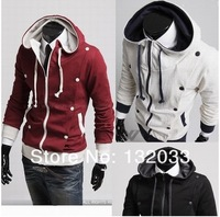 2014 new men's hooded cardigan jacket men hit color Slim thick fleece sweater men sweater trend