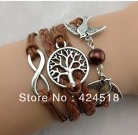 2014 New Infinity love bracelet , Wish Tree & Couple bird Charm Bracelet--Antique Silver Bracelet   Imitation Leather Bracelet