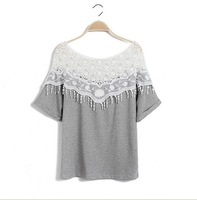 sweet lace cutout shirt women handmade crochet cape collar batwing sleeve blouse t shirt