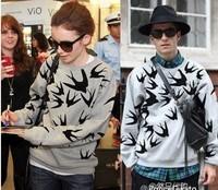 Free shipping New women swallow long sleeve head fleece star  T-shirt  in inventory