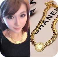 Hot Fashion Women Alloy Queen Head Chain Necklace Coarse Clavicle Necklace