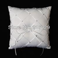 Free Shipping Diamond Grid Pattern White Satin Wedding Ring Pillow With Rhinestones And Ribbon
