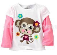 6 pcs/lot High Quality Girl Brand Long Sleeve t-shirt Girl Boy animal t shirt Baby 100% Cotton homewear Baby wear