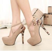 Free shipping Pumps new 2014 hot Korean Princess comfortable waterproof  sweet splicing  shoes