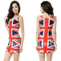 New Women's Sexy Galaxy Digital England United Kingdom Flag Printed Dress free shipping  01060314