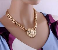 Women Hot Fashion Alloy Lion Head Chain Necklace Coarse Clavicle Necklace