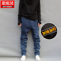 Free shipping Thickening plus velvet plus size jeans pants male pants harem pants hiphop trousers
