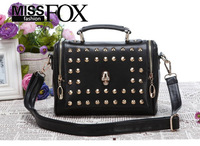 2014 New Women Message Bag Vintage Rivet Skull Designer Handbags High Quality Leather Fashion shoulder cross-body Bags Wholesale