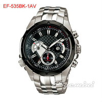 New Black Dial EF-535BK-1AV EF-535BK 535BK Men's 100M Sport Watch Chronograph Stainless Steel Wristwatch EF-535BK-1A